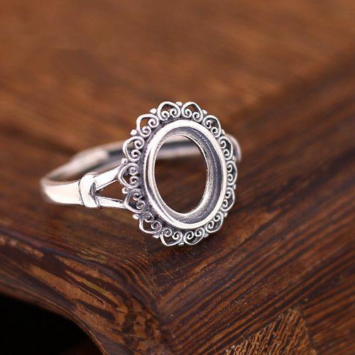 7.8x9.8mm oval cabujón semi montaje del anillo de compromiso de plata esterlina 925 mujeres Plata Fina joyería Ajuste