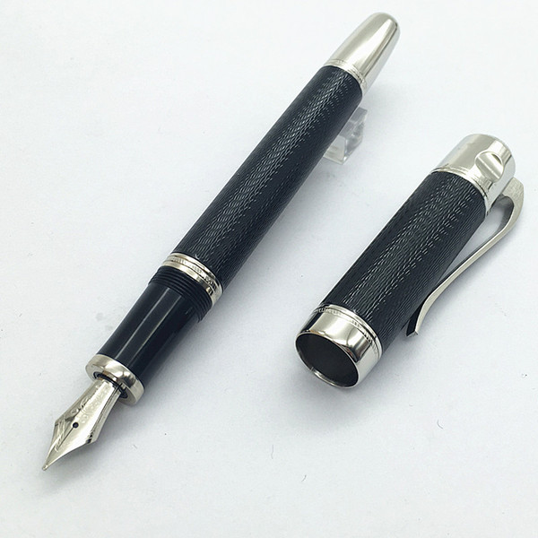 best selling Free Shipping - High quality Luxury pen black   blue color Stationery metal Fountain pens for gifts (M nib)