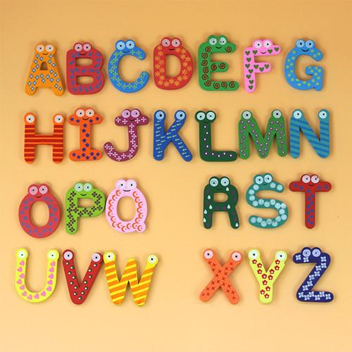 Wooden alphabet fridge puzzle educational toys 26 color english alphabet cartoon magnet paste home accessories