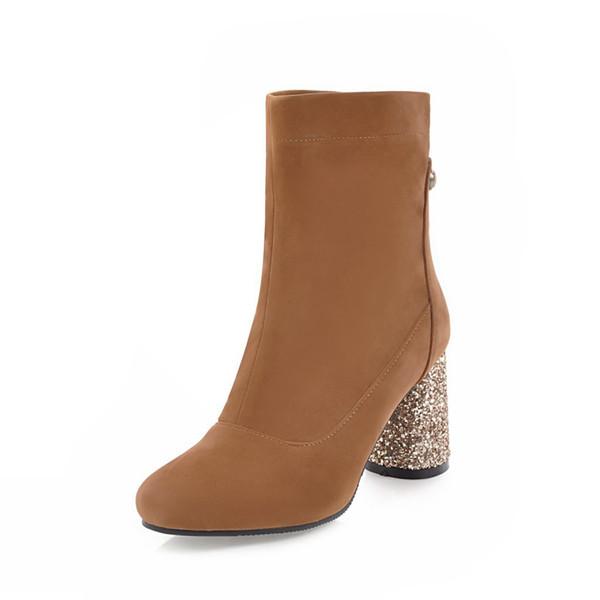 Winter and Europe fashion new high heels, warm zipper, shiny heels, short boots OUDI D1055