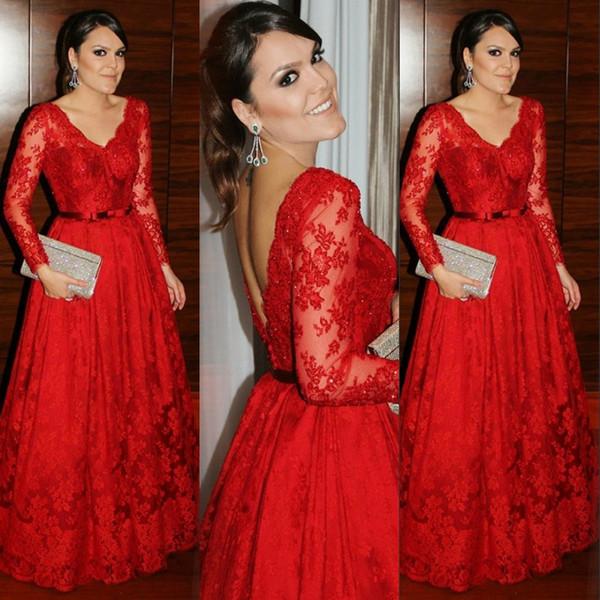 Rojo encantador madre de la novia viste elegante con cuello en V apliques de encaje mangas largas mujeres bonitas vestido de fiesta Glamorous una línea de vestidos de noche