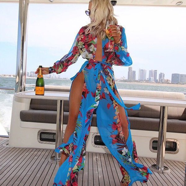 Sexy womens swimsuits beach cover up dresses for women plus size swimwear fat swimming wear women irregular chiffon bathing suit wrap