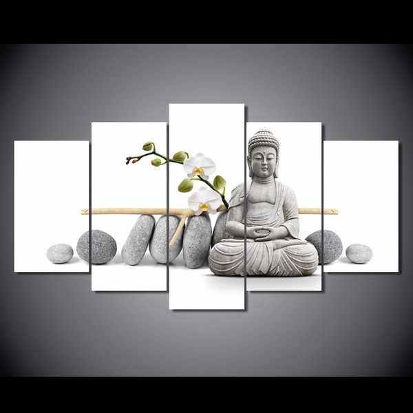 5Pcs/Set Framed HD Printed Stone Buddha Painting Canvas Print room decor print poster picture canvas Free shipping/ny-3058