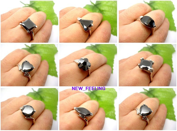 Wholesale 20pcs/lot mixed Fashion High Quality Black Faceted Zircon Stone Rings mix Size for Woman Jewelry Rings Low Price