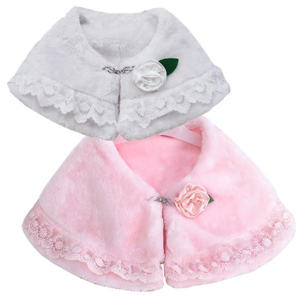 Rosettes with White Soft Fur Stole Shawl Shrug Wrap Cape Wedding Flower Girl Shawl Coat free shipping