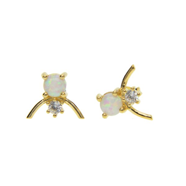 white fire opal jewelry 2017 top quality facotry wholesale gold silver plated cz opal stone V shape girl stud earring
