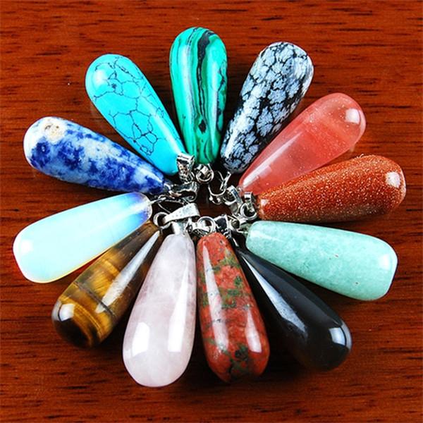 qs68 12Pcs perlina pendente a goccia pietra preziosa mista Invia in modo casuale