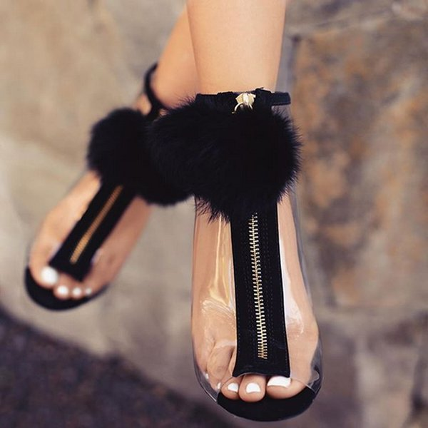 Women High Heel Peep Toe Transparent Clear Ankle Boots Summer Fuzzy Ball Pompon Gladiator Sandals Bootie Shoes Stilettos