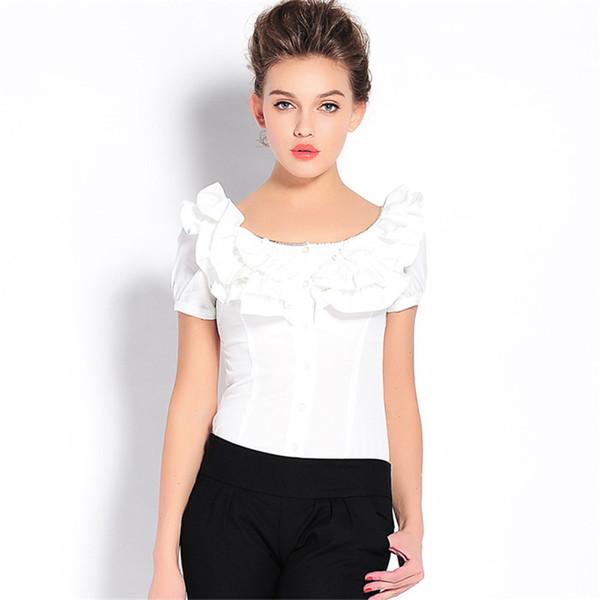 Ruoru Fashion Rüschen Body Bluse mit Höschen Rüschen Blusa Feminina Uniform Kleidung Büro Bluse Damen Office Shirt Sommer