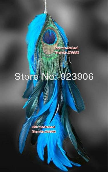 Einzelne lange Feder-Ohrringfrauen der blauen Federohrringfrauenohrringe 10pcs / lot