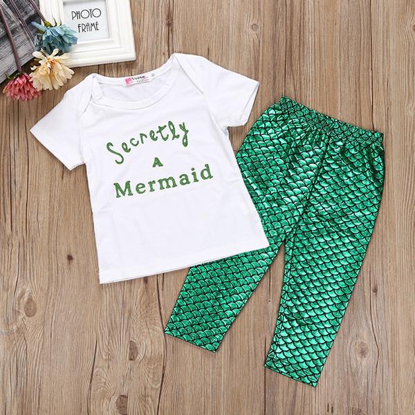 Bebê INS Sereia cauda escala Ternos DHL crianças dos desenhos animados Escamas de peixe T-shirt de manga curta + calças 2 pcs Terno dos desenhos animados pijamas Ternos B001