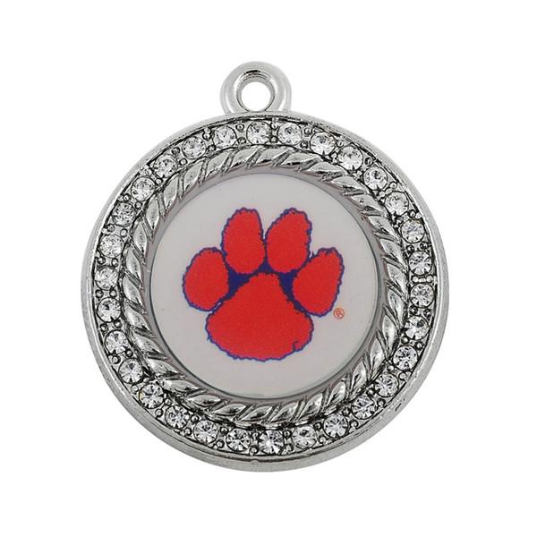 10pcs métal émail sport équipe en forme pour collier / bracelet / boucle d'oreille pendentif charmes NCAA clemson tigres bricolage sport pendentif bijoux