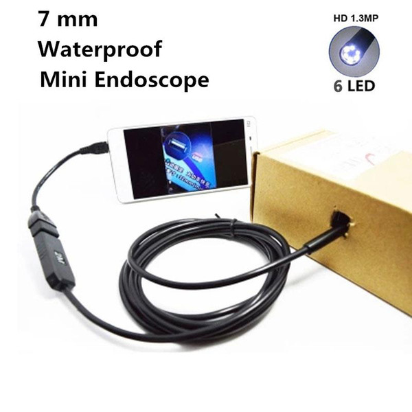 Wholesale- 7mm 1M OTG Android Phone Endoscope 6 LED IP67 Borescope CMOS Micro Camera with 1 * (Small hook+Magnet+ Side audition+USB line)