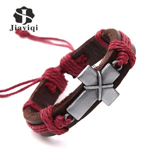 Jiayiqi Neue Marke Kreuz Vintage Lederarmbänder Charme Armbänder für Frauen Männer Schmuck Armband Schnur Modeschmuck