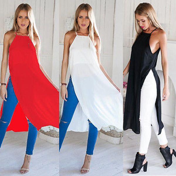 sexy vestido de moda nuevo estilo Casual Summer Women Two Side High Split gasa camiseta vestido Sheer Tops vestidos