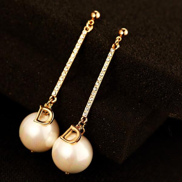 2017 nuovo arrivo coreano lunga perla ciondola gli orecchini per le donne moda zircone cubico lettera charms gioielli di marca di alta qualità come regalo