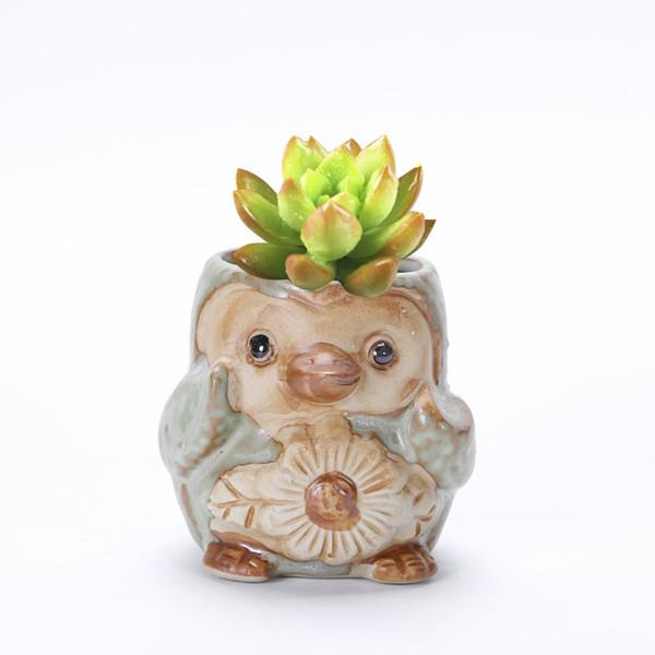 1PCS Ceramic Mini Cute Penguin Art Flower Pot Planter Succulent Plant Vintage