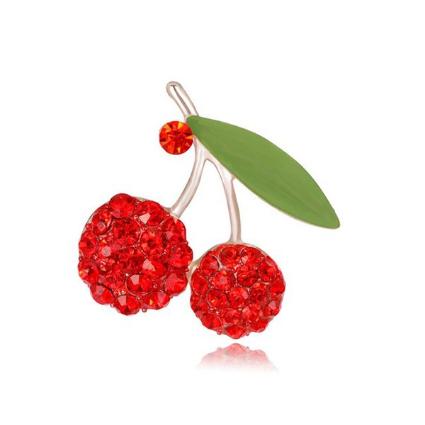 3pcs Fashion Women High Grade Alloy Rhinestone Red Glowing Cherry Brooches Pin Gold Plated Enamal Corsage Jewelry Accessory