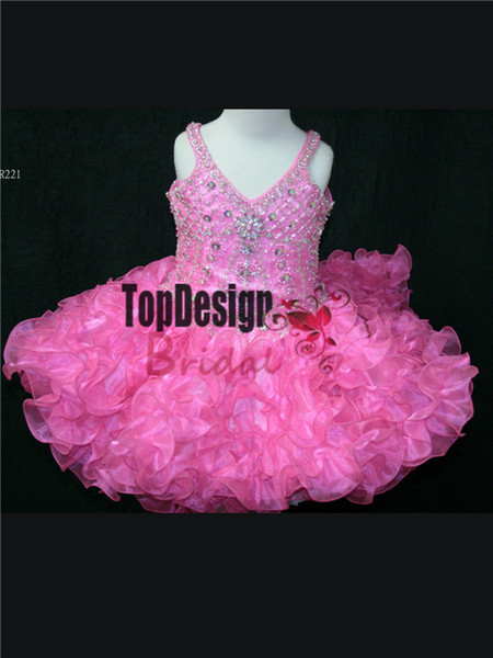 2017 WHOLESALE LAYERED RUFFLED SKIRT PAGEANT GOWN CUPCAKE DRESSES INFANT TODDLER BIRTHDAY BALL GOWN SR221