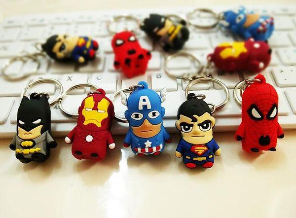 New 10 Pcs Mixed Cartoon The Avengers Spiderman Superman Batman Iron Man Captain America Key Chains Metal 3D Stereo Key Ring Party Gifts