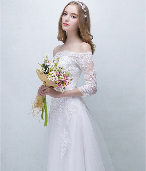 Simple Lace Wedding Dress On Christmas 3/4 Sleeve Floor-Length Plain Aline Bridal Gowns Big Sale Free Shipping