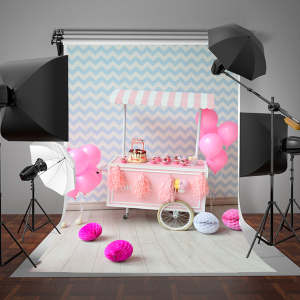 SUSU Cake Smash Photography Backdrops White and Blue Stripe Wallpaper Wall Background 5x7ft Gray Wood Floor Pink Balloons Photography Props