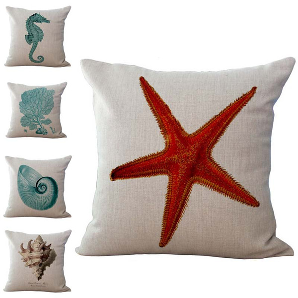 Sea Star Seahorse Conch Coral Pattern Pillow Case Cushion cover Linen Cotton Throw Pillowcases sofa Bed Pillow covers Drop shipping PW480