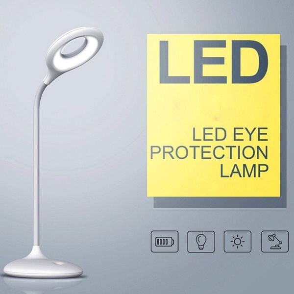 Lampe de bureau LED rechargeable avec 3 niveaux Dimmable, lampe de bureau sans fil 3W avec port USB - Blanc