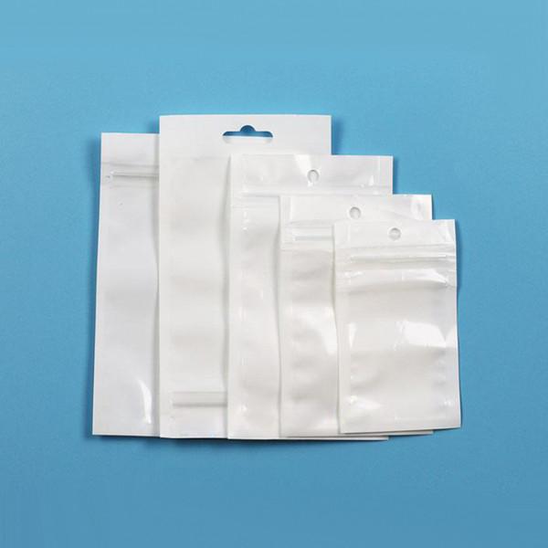 Transparent Blanc Perle En Plastique Poly Sacs OPP Emballage Zipper Lock Package Accessoires PVC Retail Boxes Trou De La Main pour Petits accessoires