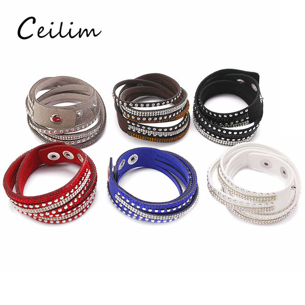 9 Colors Women Full Rhinestone Cool Leather Wrap Wristband Cuff Punk Bracelet Bangles Fit Party Gift Winding bracelet Snap Button Jewelry