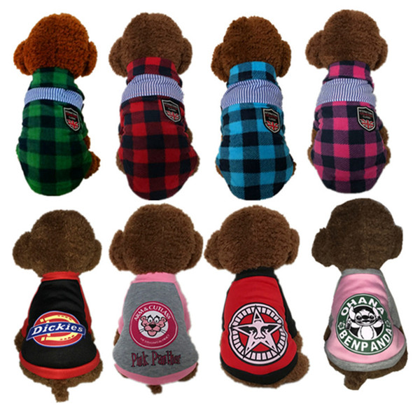 Cheap Pet small dog fall winter checkered clothes plaid shirts new styles dog sweater pet supplies wholesale free shipping