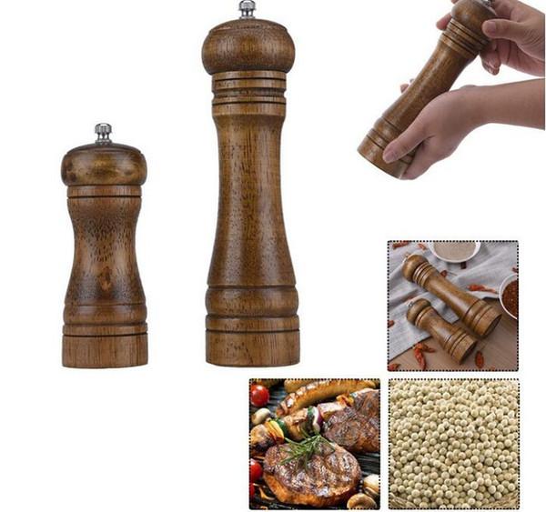 Madera Sal Pimienta Molinillos Sal y Pimienta Molinillos de Especias Molinos Manual Pepper Mill 2 Tamaños Herramientas Creativas de Cocina