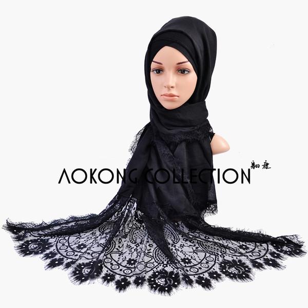 Wholesale- One piece lace hijab big size plain solid lace scarf fashion cotton viscose maxi shawl soft feeling muslim islamic scarves stole