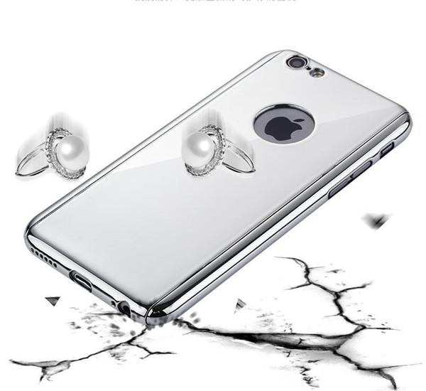 360 casos de proteção de corpo inteiro para o iphone 7 6 6 s plus luxo chapeamento rígido pc espelho case armadura livre vidro protetor