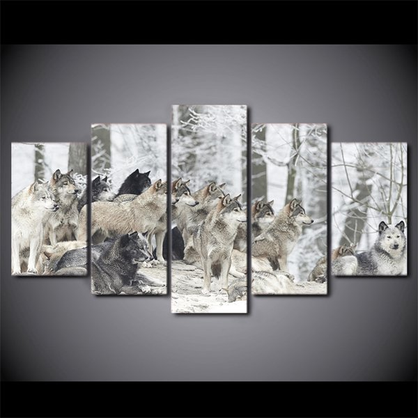 5 Pieces Wolves Group Animal Snow Wall Art Canvas Pictures For Living Room Bedroom Home Decor Printed Framed Canvas Painting