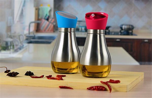 400 мл портативный из нержавеющей стали стеклянная бутылка масла соевый соус уксус оливковое масло диспенсер 5 цветов герметичный вращающийся дизайн губ высокий класс