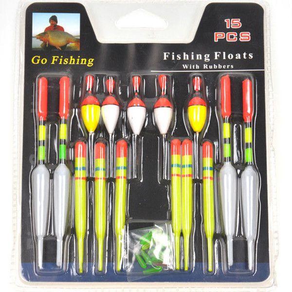 Wholesale- Cycle zone 15pcs per Set Assorted Sizes Fishing Lure Floats Bobbers Slip Drift Tube Indicator Gift Wholesale