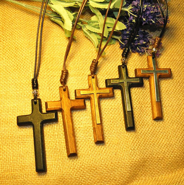 2017 New Double wooden cross pendant necklace vintage alloy Wax rope sweater chain men women jewelry lovers stylish 12pcs