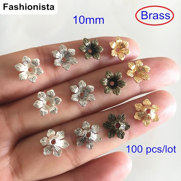 100 pcs 10mm Brass Flower Bead Caps,6 Petal Flower For Jewelry & Crafts Making,Gold-color/Silver-color/Steel/Bronze Color