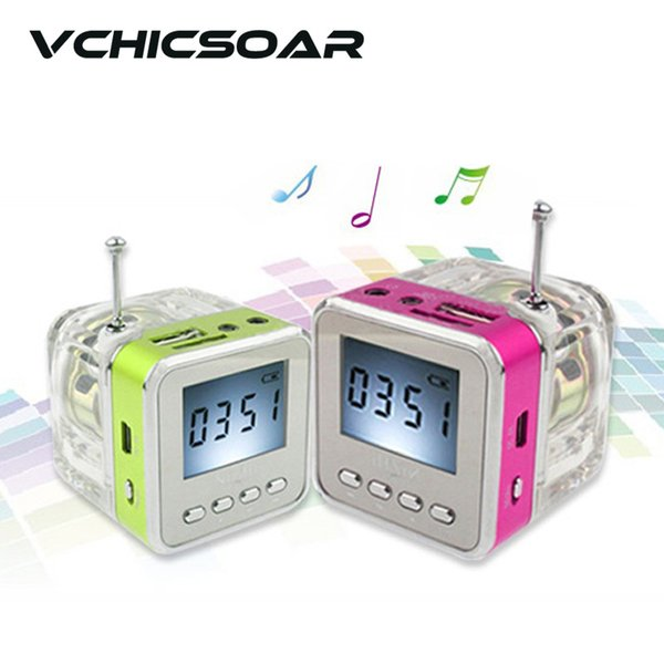 Wholesale-New Digital Mini Portable FM Radio With Speaker Screen Colorful LED Lights Display Support MP3/4 PC Phones Micro USB SD/TF Card