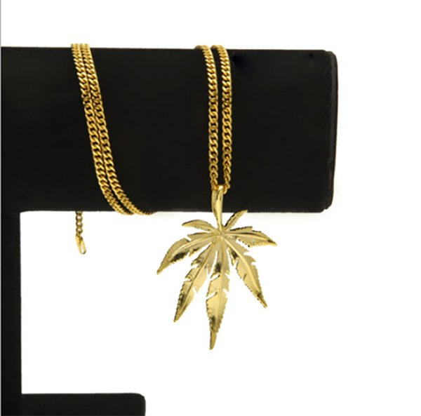 "Gold Silver Plated Sugar Maple Leaf Pendant Necklace Wome Men Hip Hop 24"" Cuban Link Chain Necklace Fashion Jewelry"