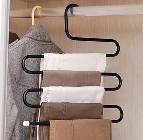 Metal Magic Pants Hanger Multi-función de tipo S bastidores de hierro Space Saver Rack Jeans Bufanda Tie Closet Tool