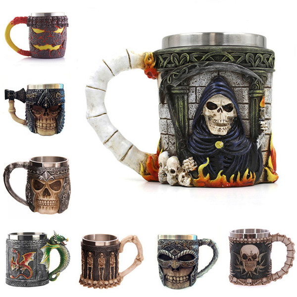 Creative Resin With Stainless Steel Liner Drinkware Mug 3D Skull & Spine Halloween Bar Party cups Wine Glass 200ml Free Shipping