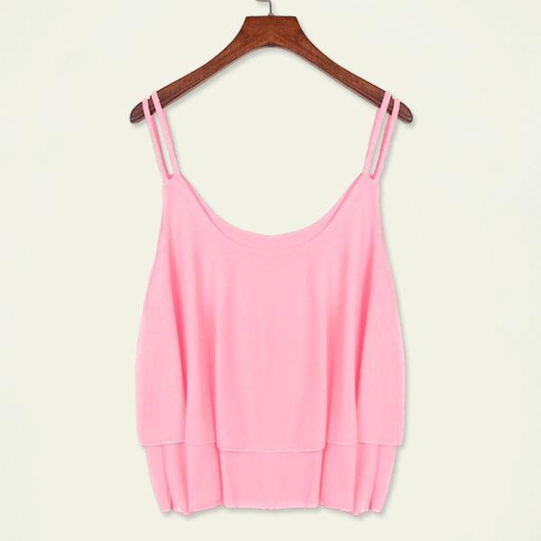 New Summer Tanks Sexy Strap Tops Chiffon Sleeveless Shirts Vest Camis Black Rose White Tees sun-top Women Clothing Apparel 6 Colors Free DHL