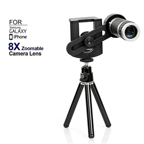 8x Zoom Telephoto Phone Lens For iPhone 6 6plus 5s 5 4s 4 Samsung S6 S5 Optical Telescope Camera Kit + Mini Tripod Free DHL