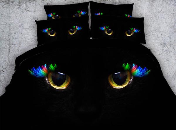 Muitos Estilos 3D Colorido Olhos de Gato Preto Impresso Tecido Conjuntos de Cama de Algodão Gêmeo Completa Rainha King Size Capa de Edredão Set Travesseiro Shams Consolador