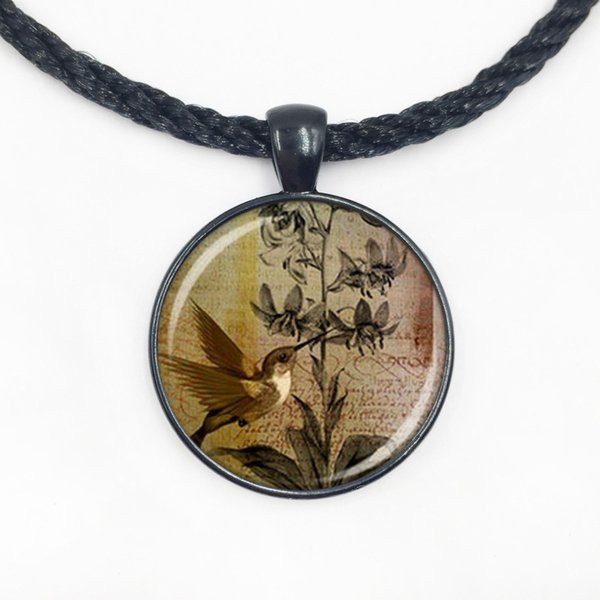 Wholesale Glass Dome Hot glass dome high quality orchid hummingbird necklace bird watches gift fashion jewelry