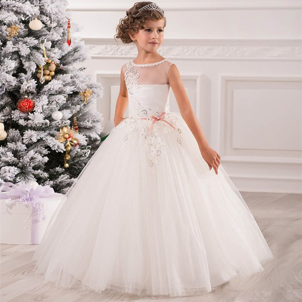 f908ec5af Flower Girl Dresses for Weddings Pink Tulle Ball Gown Ankle Length Diamonds  Sash Sleeveless O-