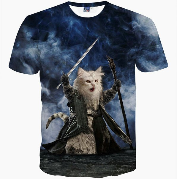 Sorcerer cat T shirt Sword fight short sleeve gown Best tees Leisure printing clothing Quality cotton Tshirt