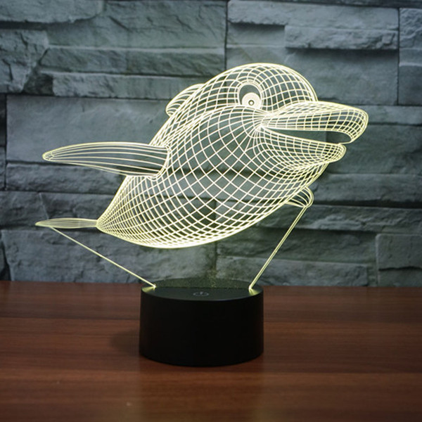 Dolphin 3D Lamp Room Bedroom Decorative Night Light Multi 7 Color Change USB Cable Smart Touch Button LED Desk Table 3D Night Light